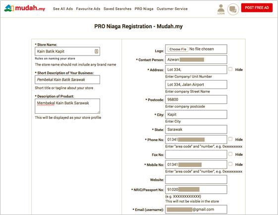 Pendaftaran Pro Niaga Profile